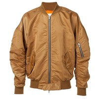 Indie Designs Fear of God Inspired Gold Nylon MA1 Bomber Jacket
