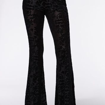Kendall & Kylie High Rise Burnout Velvet Flare Pants - Womens Pants - Black