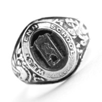 Vintage Sterling Silver Class Ring - Art Deco Size 8 1930s West End WE School Jewelry / 1934 Pennsylvania Graduate
