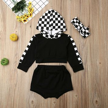 Cute Infant Baby Girl Clothes Plaids Hooded Crop Tops Shorts Tracksuit Outfit US