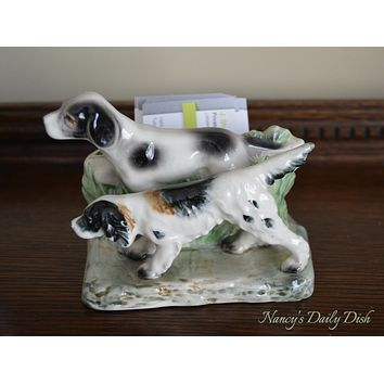 Vintage Hunting Dogs Pointer / Setter Business Card Holder Vase Figurine - English Country Decor