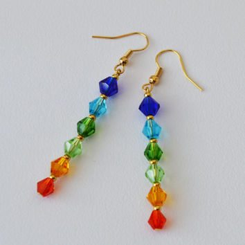 CLEARANCE SALE-Colorful Swarovski Crystal 18K Gold Filled Earrings