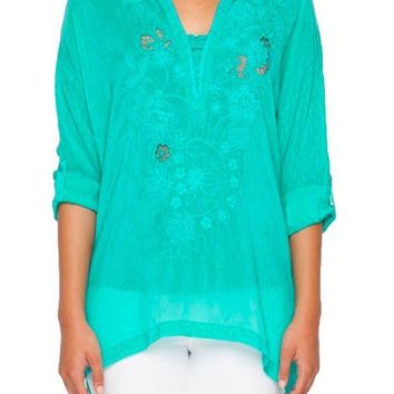 ICIKAB3 Johnny Was Women's Lusana Tropical Embroidered Blouse