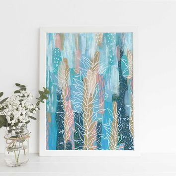Abstract Underwater Ocean Painting Blue Turquoise Wall Art Print