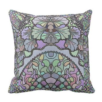 Old world purple pansy tile print pillow