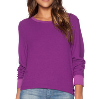 Wildfox Couture Long Sleeve Basic Pullover in Mauve