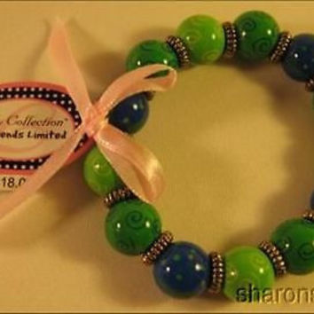 Lot 10 Handpainted Lilly Bracelet Friends Limited Wood Green Whale Stretch NEW