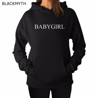 BLACKMYTH BABYGIRL Lettered Printed Crewneck Leisure Print Cozy Women Hoody Hoodies White Black Sweatshirts Tops Pullover