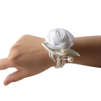 Custom Rose Corsage Bracelet in  Satin Rose