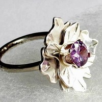 Sterling silver amethyst birthstone ring by Metal Artistry