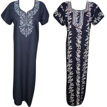 Mogul Lot Of 2 Womens Maxi Caftan Blue Printed Cotton Short Sleeves Evening Summer Sleepwear Nightwear Nightgown Long Kaftan - Walmart.com