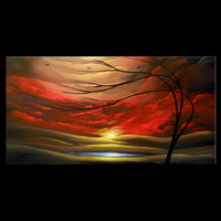 abstract art original painting 24 x 48 red cloud tree landscape - Mattsart