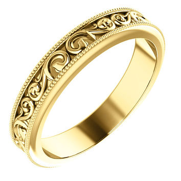 4 mm Carved Vintage Style Wedding Band