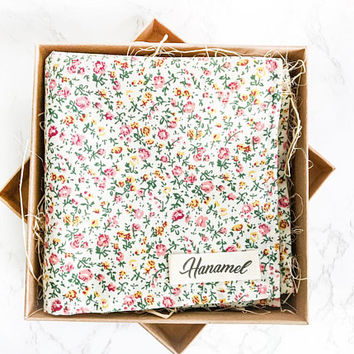 Hanamel Handmade Cream White Floral Pocket Square - Handmade Pocket Square - Cream Flower pocket square - Colorful Floral Pocket Square