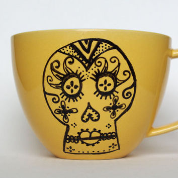 Yellow Sugar Skull Mug hand painted and one of by FeistyOwlStudio