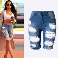 AJ4006 2017 New arrive famous brand summer jeans women casual jeans novelty short denim jeans