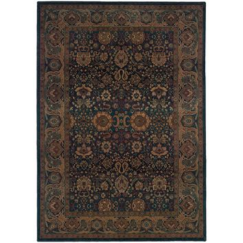 Kharma Blue Beige Oriental Persian Traditional Rug