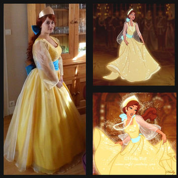 Anastasia cosplay costume Princess Anastasia yellow dress Halloween cartoon costume Women size kids size