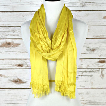 Solid Fringe Scarf - Yellow