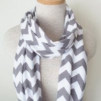 Grey and White Chevron Infinity Skinny Scarf - Jersey Knit