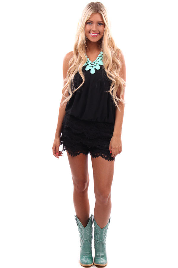 9b2ea5fac939 Black Crochet Lace Bottom Romper from Lime Lush Boutique | Lime