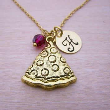 Pizza Necklace - Gold Initial Necklace - Birthstone Necklace - Gold Initial Disc Necklace - Personalized Necklace - Pizza Charm
