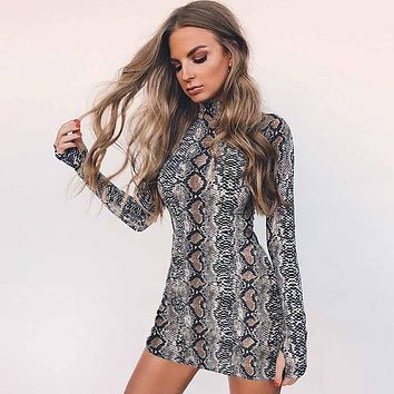 Long Sleeve Print High Neck Short Party Dress