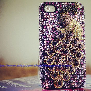 Peacock full rhinestone case  for iphone 4 4S iPhone 5 samsung Galaxy Note2, HTC ONE case, samsung s3, s4 case
