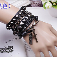 Punk Rock Black Leather Bracelet Couple Bracelet Women Bracelet Men Leather Bracelet Bracelet Cool Bracelet Mens Bracelet 1062S