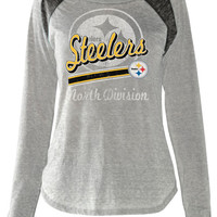 Pittsburgh Steelers Women's Touch Formation Ash Long Sleeve Burn-Out T-Shirt - Official Online Store