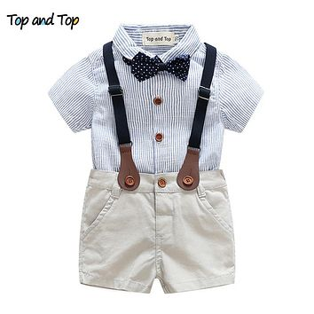 Summer Newborn Baby Sets Infant Clothing Gentleman Suit Striped Shirt+Bow Tie+Suspender Trousers