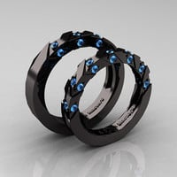 Modern Italian 14K Black Gold Blue Topaz Wedding Band Set R310BS-14KBGBT