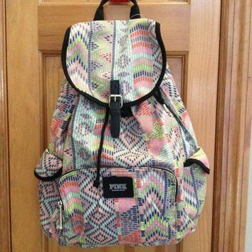 NWT Victorias Secret Love PINK BackPack Rare Neon Aztec Bookbag Bag Hot New