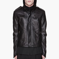 JUUN.J Black Perforated Lambskin Leather Jacket for men | SSENSE