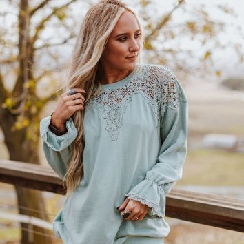 Love Bird Crochet Pullover Sweatshirt - Sage