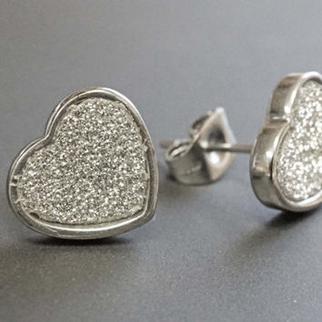Silver Stud Earrings Silver Earrings Glitter Heart