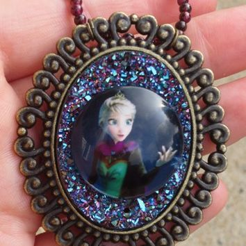 Magical Snow Queen Elsa Peacock Ore Drusy Garnet Gemstone Necklace