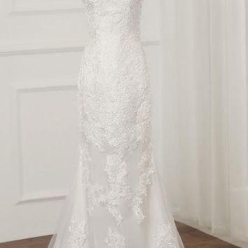 Short Sleeves Mermaid Wedding Dresses O-neck Applique Long  Lace Wedding Gowns