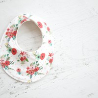 Baby Bib in Red Floral