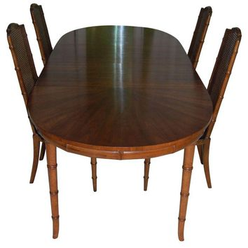 Pre-owned Henredon Faux Bamboo Dining Table & 4 Cane Chairs