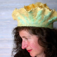 Womans Yellow Felt Beret, Felted Flower Hat with Ruffles