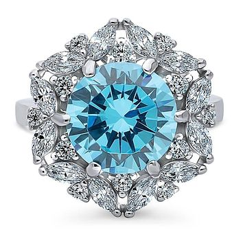 A Stunning 3.9CT Round Cut Blue Topaz CZ & Marquise Cut Halo Statement Ring