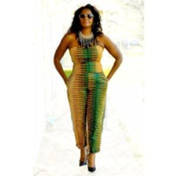 Green African Print Jumpsuit
