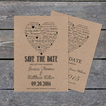 Kraft Paper Save the Date Template - I Love You other Languages Heart - Rustic Printable Wedding Save the Date PDF Templates - DIY You Print