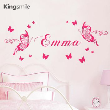 Butterfly Wall Sticker Personalized Name Vinyl DIY Nursery Butterflies Art Decals Poster Girls Kids Rooms Decoration Home Decor