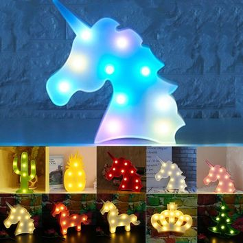 3D Unicorn LED Night Light Table Lamp Christmas Room Decor Kids Room Decoration Pineapple Cactus Gifts