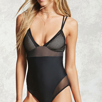 Mesh-Panel One-Piece Swimsuit