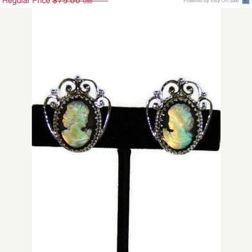 ON SALE 50% OFF Vintage Whiting & Davis Iridescent Cameo Clip-On  Earrings