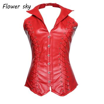Women's PU Faux Leather Steampunk Rock Retro Corset Bustier Halter Steampunk Vest Corset with collar Lingerie Clubwear