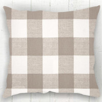 Neutral Buffalo Check Pillow Cover - Tan and White Check Pillow, Farmhouse Decor, Fall Pillow, Farmhouse Pillow, 16 x 16, 18 x 18, 20 x 20